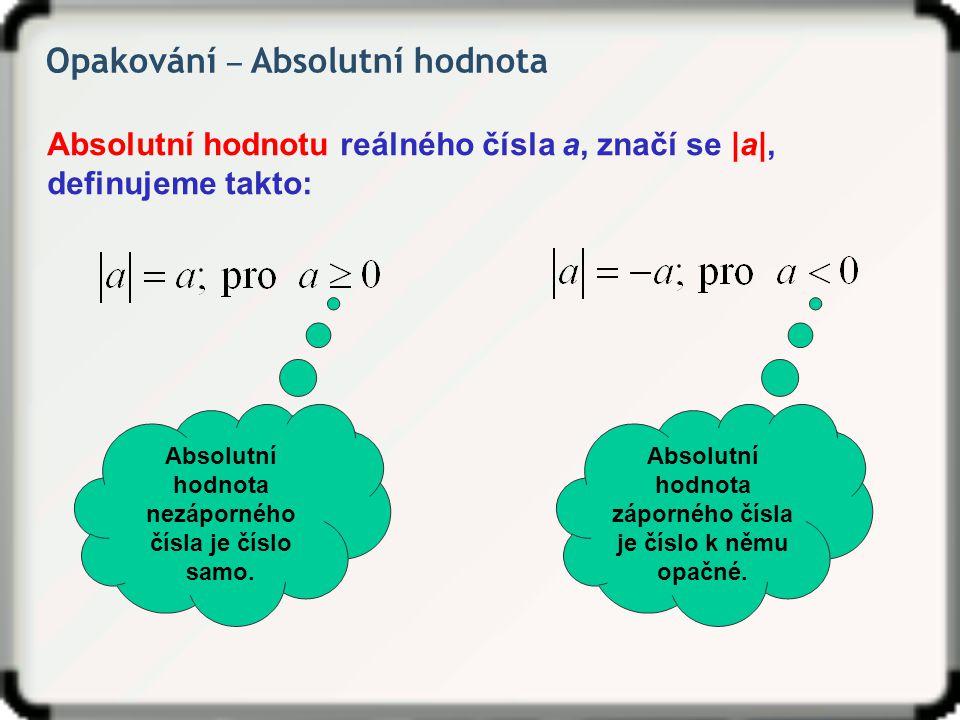 Opakování ‒ Absolutní hodnota Absolutní hodnotu reálného čísla a, značí se |a|, definujeme takto: Absolutní hodnota nezáporného čísla je číslo samo. A