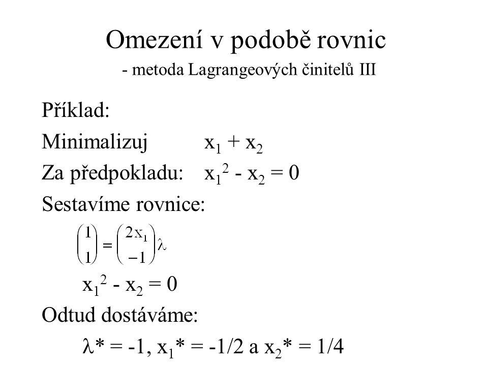 Omezení v podobě rovnic - metoda Lagrangeových činitelů III Příklad: Minimalizuj x 1 + x 2 Za předpokladu: x 1 2 - x 2 = 0 Sestavíme rovnice: x 1 2 - x 2 = 0 Odtud dostáváme:  * = -1, x 1 * = -1/2 a x 2 * = 1/4