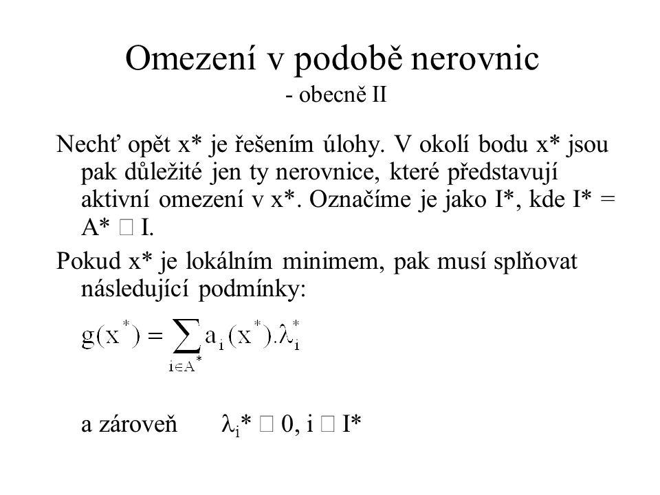 Omezení v podobě nerovnic - obecně II Nechť opět x* je řešením úlohy.