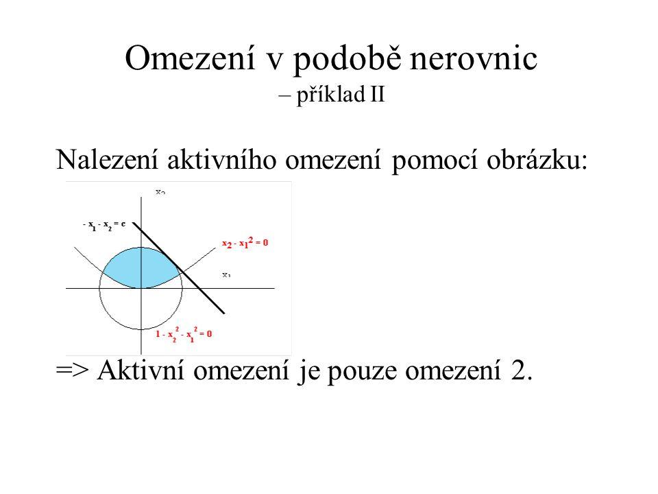 Omezení v podobě nerovnic – příklad II Nalezení aktivního omezení pomocí obrázku: => Aktivní omezení je pouze omezení 2.