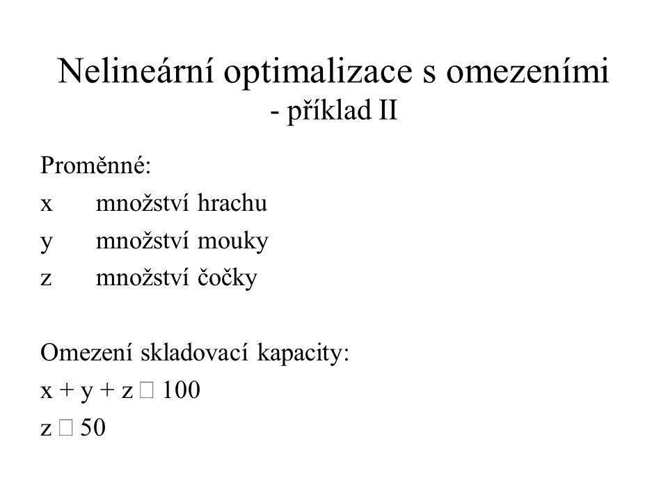 Nelineární optimalizace s omezeními - příklad II Proměnné: x množství hrachu y množství mouky zmnožství čočky Omezení skladovací kapacity: x + y + z  100 z  50