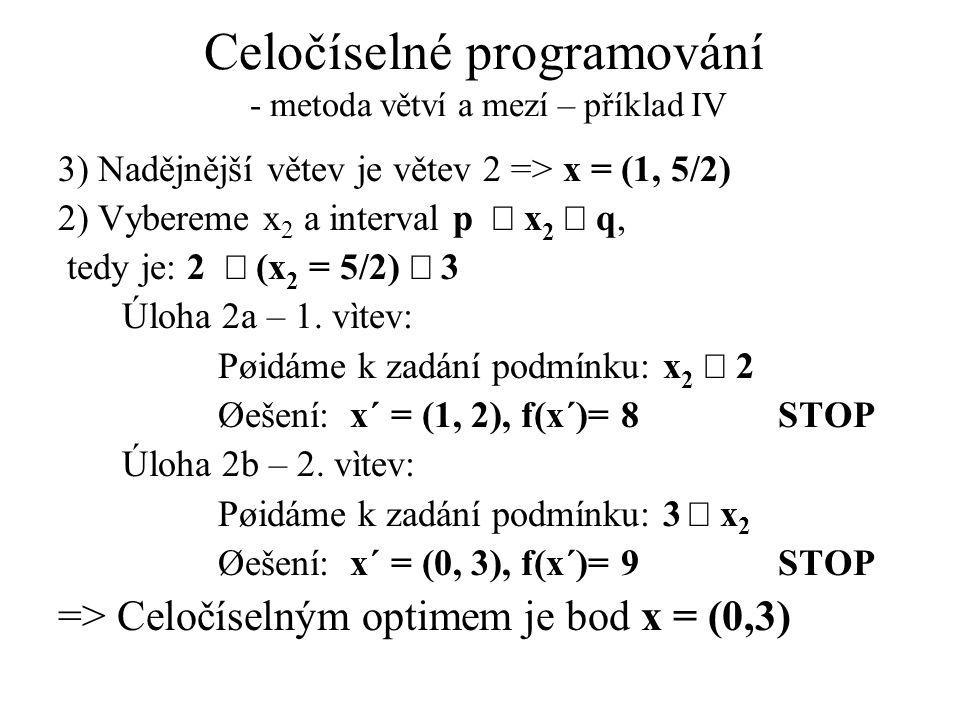 Celočíselné programování - metoda větví a mezí – příklad IV 3) Nadějnější větev je větev 2 => x = (1, 5/2) 2) Vybereme x 2 a interval p  x 2  q, tedy je: 2  (x 2 = 5/2)  3 Úloha 2a – 1.
