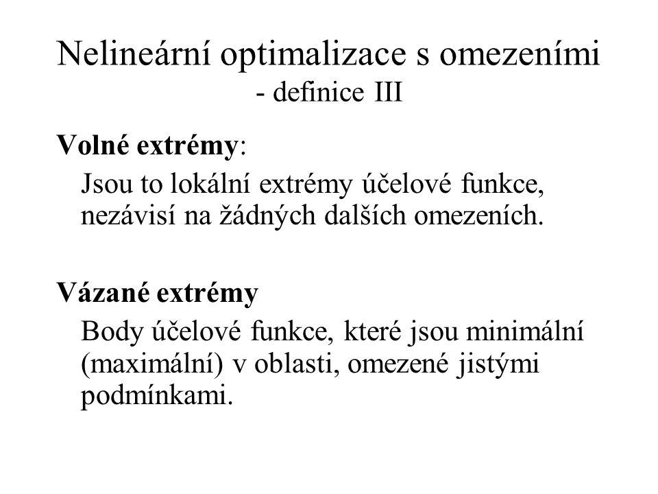 Nelineární optimalizace s omezeními - definice III Volné extrémy: Jsou to lokální extrémy účelové funkce, nezávisí na žádných dalších omezeních.