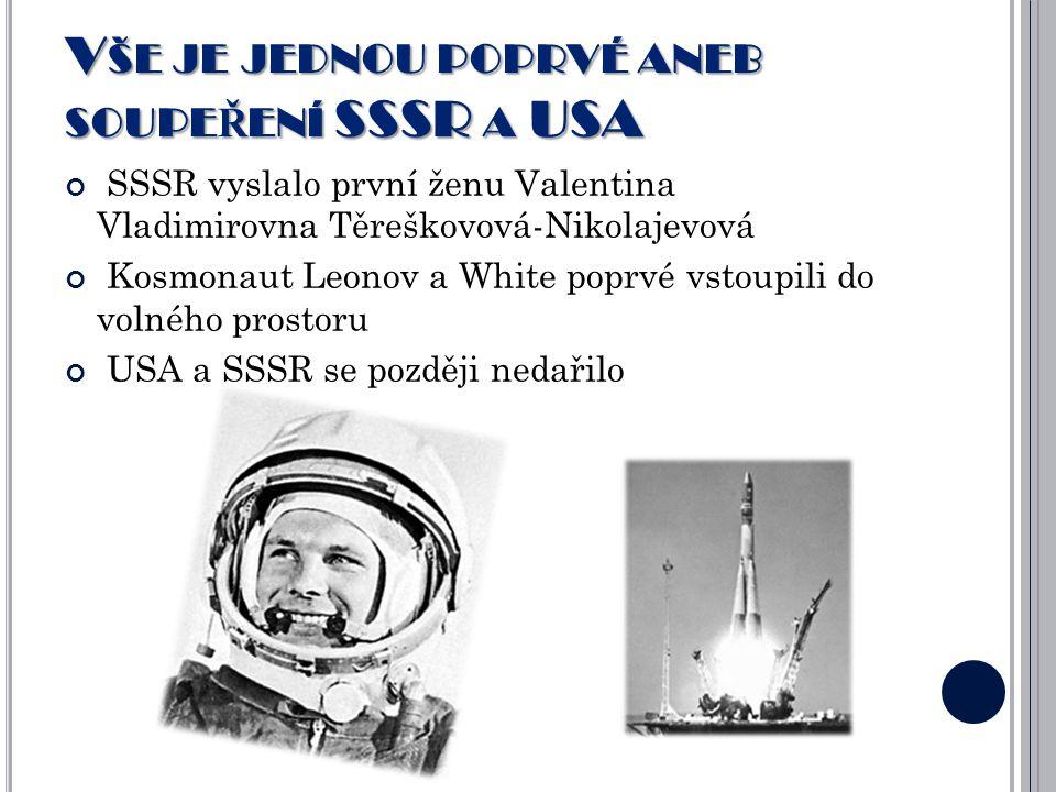 VŠE JE JEDNOU POPRVÉ ANEB SOUPEŘENÍ SSSR A USA SSSR vyslalo první ženu Valentina Vladimirovna Těreškovová-Nikolajevová Kosmonaut Leonov a White poprvé vstoupili do volného prostoru USA a SSSR se později nedařilo