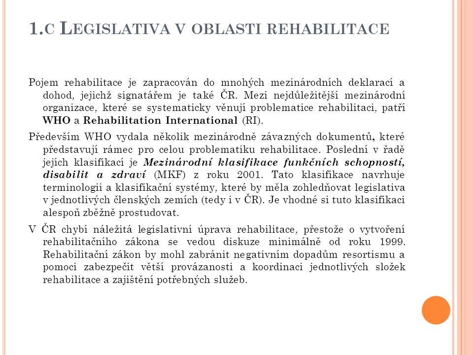 1. C L EGISLATIVA V OBLASTI REHABILITACE Pojem rehabilitace je zapracován do mnohých mezinárodních deklarací a dohod, jejichž signatářem je také ČR. M