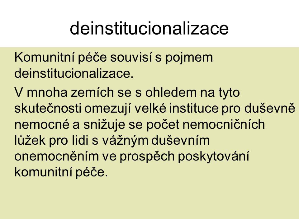 deinstitucionalizace Komunitní péče souvisí s pojmem deinstitucionalizace. V mnoha zemích se s ohledem na tyto skutečnosti omezují velké instituce pro