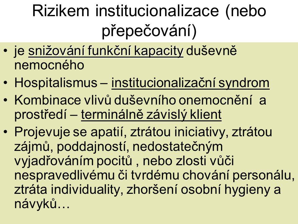 Rizikem institucionalizace (nebo přepečování) snižování funkční kapacity •je snižování funkční kapacity duševně nemocného •Hospitalismus – institucion
