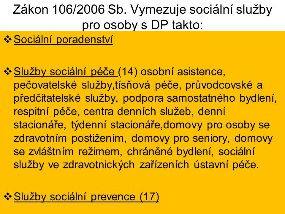 Zákon 106/2006 Sb. Vymezuje sociální služby pro osoby s DP takto:  Sociální poradenství  Služby sociální péče (14) osobní asistence, pečovatelské sl