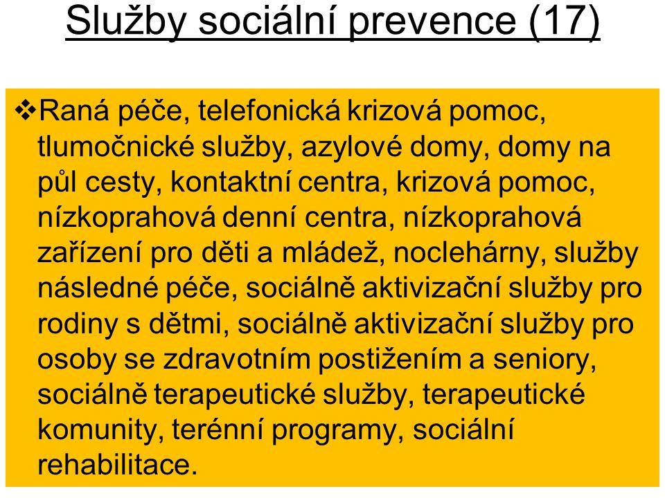 Služby sociální prevence (17)  Raná péče, telefonická krizová pomoc, tlumočnické služby, azylové domy, domy na půl cesty, kontaktní centra, krizová p