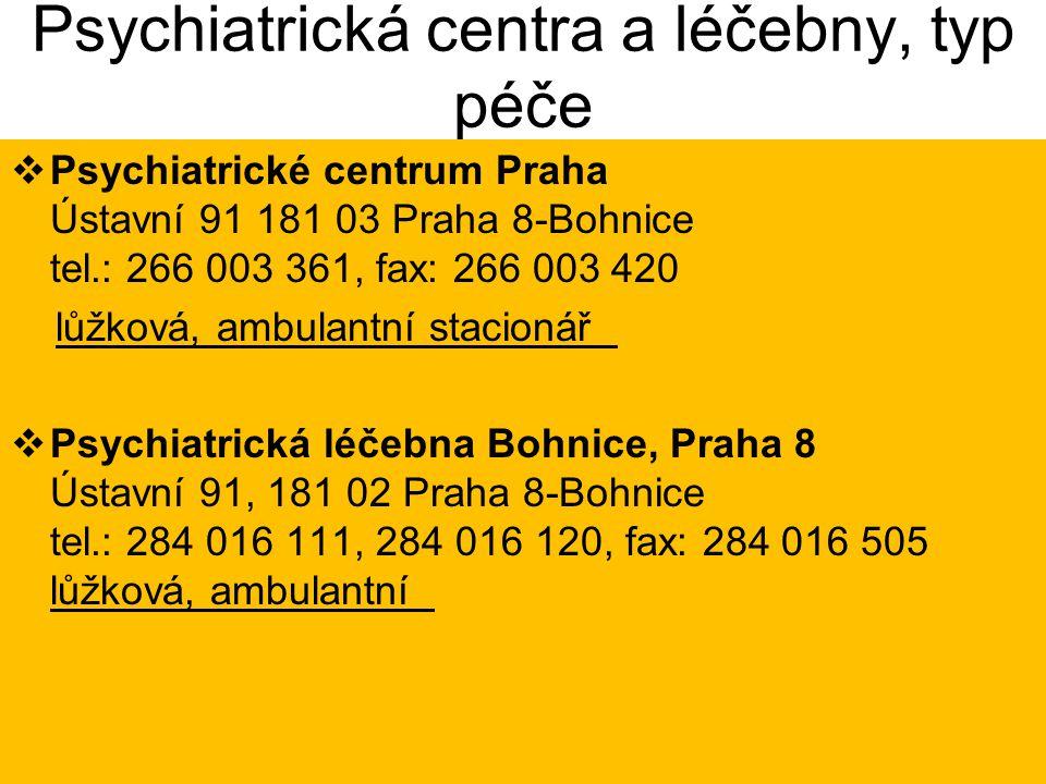 Psychiatrická centra a léčebny, typ péče  Psychiatrické centrum Praha Ústavní 91 181 03 Praha 8-Bohnice tel.: 266 003 361, fax: 266 003 420 lůžková,