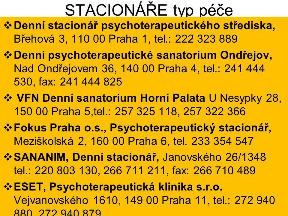 STACIONÁŘE typ péče  Denní stacionář psychoterapeutického střediska, Břehová 3, 110 00 Praha 1, tel.: 222 323 889  Denní psychoterapeutické sanatori