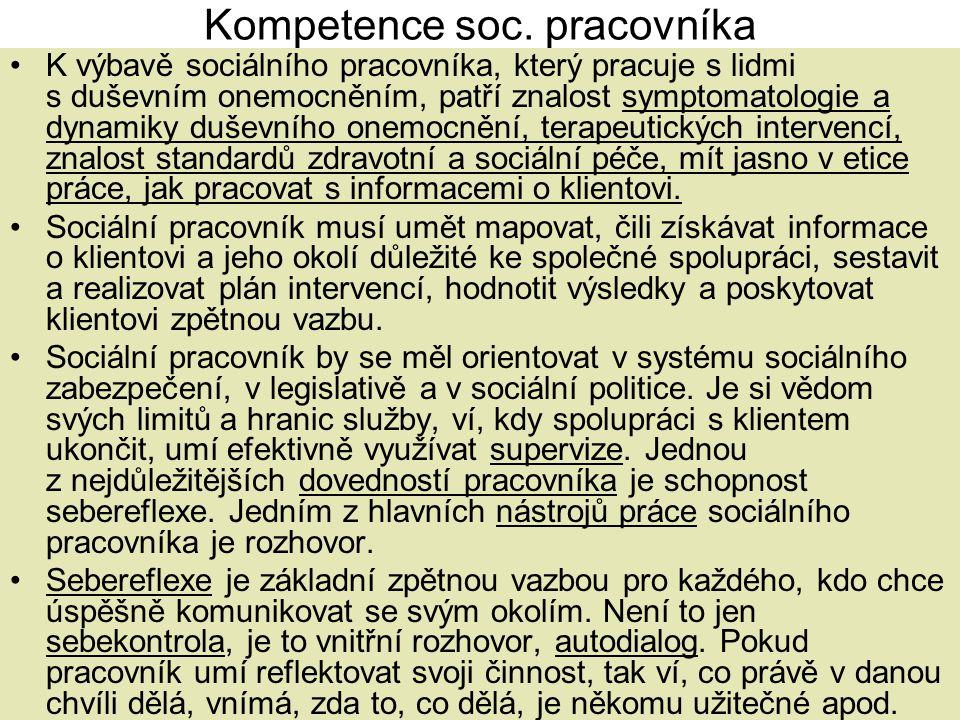 Kompetence soc. pracovníka •K výbavě sociálního pracovníka, který pracuje s lidmi s duševním onemocněním, patří znalost symptomatologie a dynamiky duš
