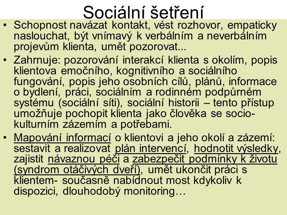 Sociální šetření •Schopnost navázat kontakt, vést rozhovor, empaticky naslouchat, být vnímavý k verbálním a neverbálním projevům klienta, umět pozorov