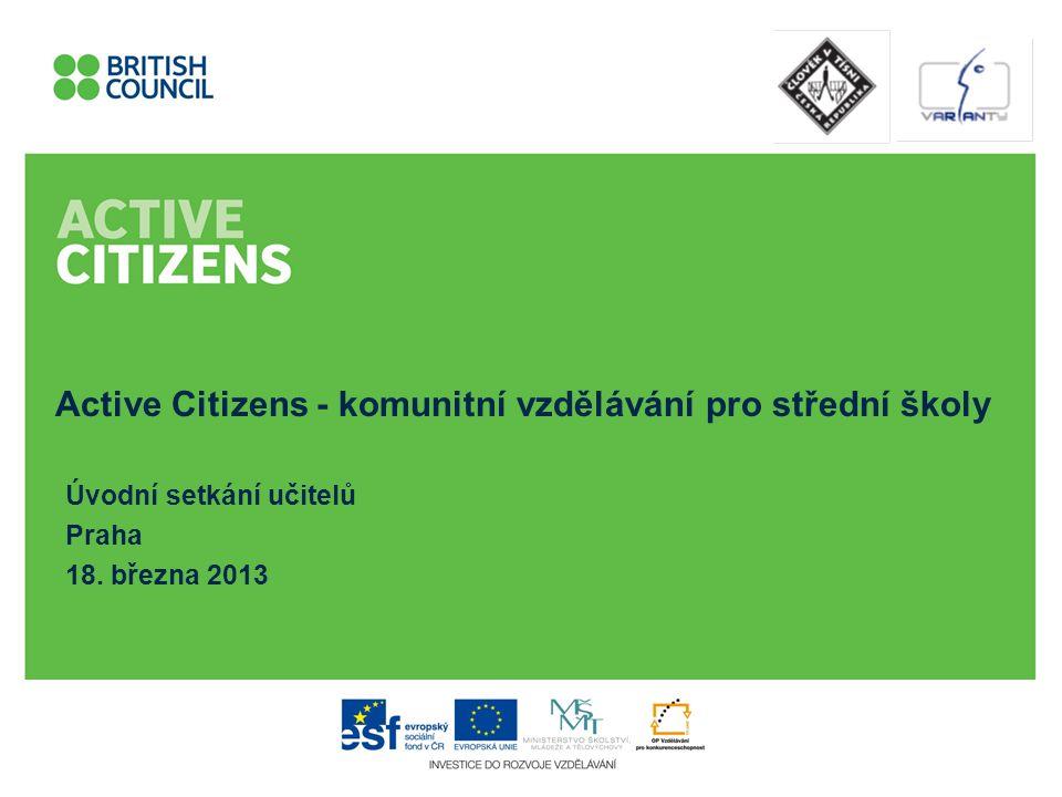 Program dnešního setkání 13.00 Kdo je kdo - organizační tým Kdo je kdo - vy O čem je projekt Active Citizens Metodika aneb jádro projektu Pauza /15 min/ Praktická stránka projektu Dotazy 16.00 Konec www.activecitizens.cz