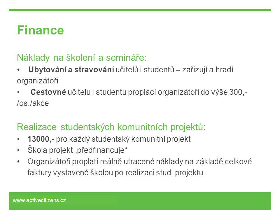 """Finance Náklady na školení a semináře: • Ubytování a stravování učitelů i studentů – zařizují a hradí organizátoři • Cestovné učitelů i studentů proplácí organizátoři do výše 300,- /os./akce Realizace studentských komunitních projektů: •13000,- pro každý studentský komunitní projekt •Škola projekt """"předfinancuje •Organizátoři proplatí reálně utracené náklady na základě celkové faktury vystavené školou po realizaci stud."""