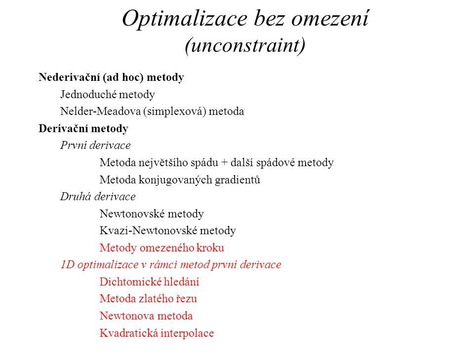 Optimalizace bez omezení (unconstraint) Nederivační (ad hoc) metody Jednoduché metody Nelder-Meadova (simplexová) metoda Derivační metody První deriva