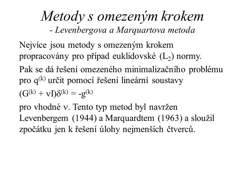 Metody s omezeným krokem - Levenbergova a Marquartova metoda Nejvíce jsou metody s omezeným krokem propracovány pro případ euklidovské (L 2 ) normy. P