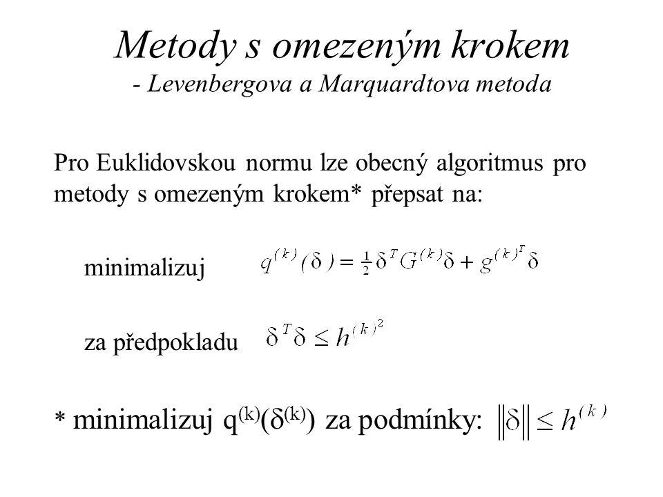 Metody s omezeným krokem - Levenbergova a Marquardtova metoda Pro Euklidovskou normu lze obecný algoritmus pro metody s omezeným krokem* přepsat na: m