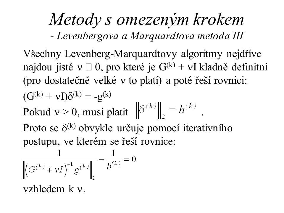 Metody s omezeným krokem - Levenbergova a Marquardtova metoda III Všechny Levenberg-Marquardtovy algoritmy nejdříve najdou jisté   0, pro které je G