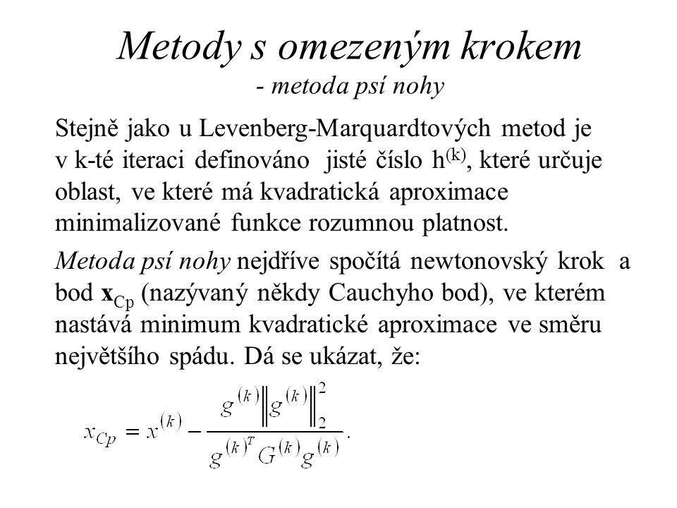 Metody s omezeným krokem - metoda psí nohy Stejně jako u Levenberg-Marquardtových metod je v k-té iteraci definováno jisté číslo h (k), které určuje o