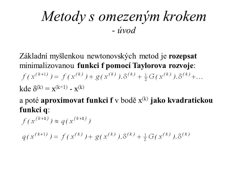 Metody s omezeným krokem - úvod Základní myšlenkou newtonovských metod je rozepsat minimalizovanou funkci f pomocí Taylorova rozvoje: kde  (k) = x (k+1) - x (k) a poté aproximovat funkci f v bodě x (k) jako kvadratickou funkci q: