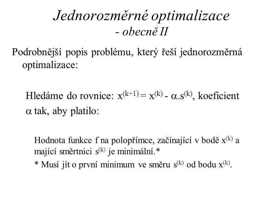 Jednorozměrné optimalizace - obecně II Podrobnější popis problému, který řeší jednorozměrná optimalizace: Hledáme do rovnice: x (k+1) = x (k) - .s (k