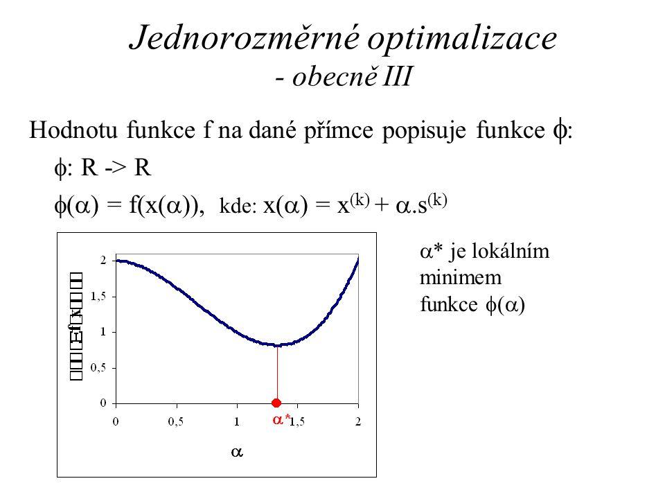 Jednorozměrné optimalizace - obecně III Hodnotu funkce f na dané přímce popisuje funkce  :  : R -> R  (  ) = f(x(  )), kde: x(  ) = x (k) + .s (k)  * je lokálním minimem funkce  (  )