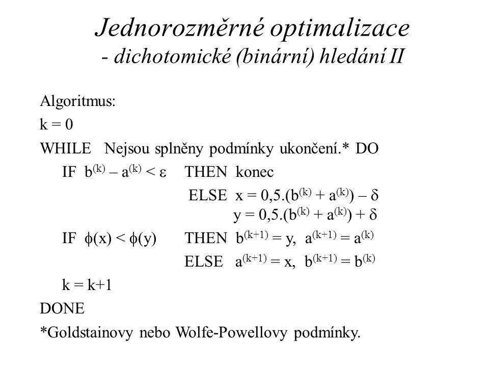 Jednorozměrné optimalizace - dichotomické (binární) hledání II Algoritmus: k = 0 WHILE Nejsou splněny podmínky ukončení.* DO IF b (k) – a (k) <  THEN konec ELSE x =  (b (k) + a (k) ) –  y = 0,5.(b (k) + a (k) ) +  IF  (x) <  (y)THEN b (k+1) = y, a (k+1) = a (k) ELSE a (k+1) = x, b (k+1) = b (k) k = k+1 DONE *Goldstainovy nebo Wolfe-Powellovy podmínky.