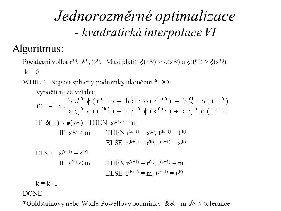 Jednorozměrné optimalizace - kvadratická interpolace VI Algoritmus: Počáteční volba r (0), s (0), t (0).