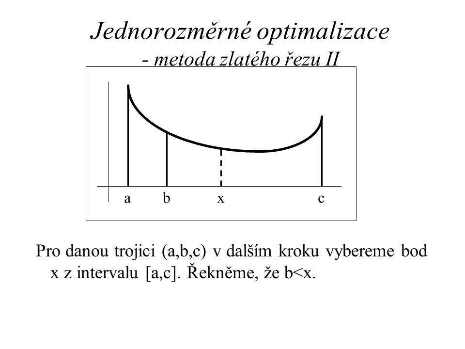 Jednorozměrné optimalizace - metoda zlatého řezu II Pro danou trojici (a,b,c) v dalším kroku vybereme bod x z intervalu [a,c]. Řekněme, že b<x. abx c