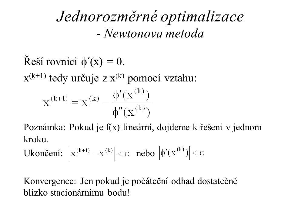 Jednorozměrné optimalizace - Newtonova metoda Řeší rovnici  ´(x) = 0. x (k+1) tedy určuje z x (k) pomocí vztahu: Poznámka: Pokud je f(x) lineární, do