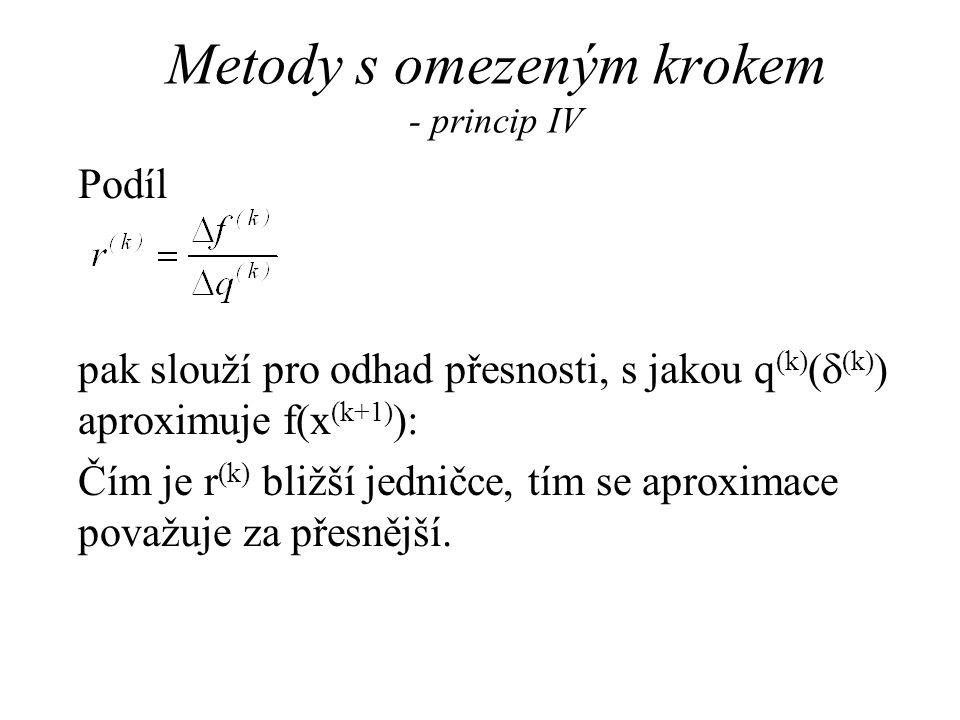 Metody s omezeným krokem - popis Modelový algoritmus pro metodu s omezeným krokem závisí na jistých pevně zvolených konstantách 0 <  1 <  2 < 1 a 0 <   < 1 <  , které slouží k adaptivní úpravě maximální délky kroku.