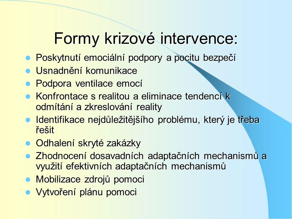 Formy krizové intervence:  Poskytnutí emociální podpory a pocitu bezpečí  Usnadnění komunikace  Podpora ventilace emocí  Konfrontace s realitou a