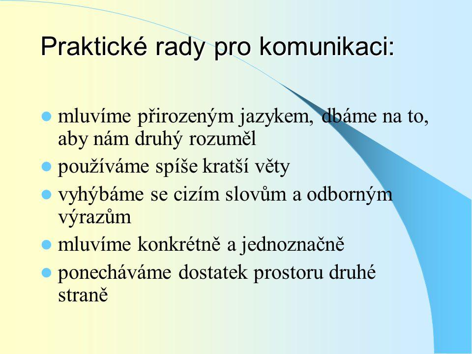 Praktické rady pro komunikaci:  mluvíme přirozeným jazykem, dbáme na to, aby nám druhý rozuměl  používáme spíše kratší věty  vyhýbáme se cizím slov