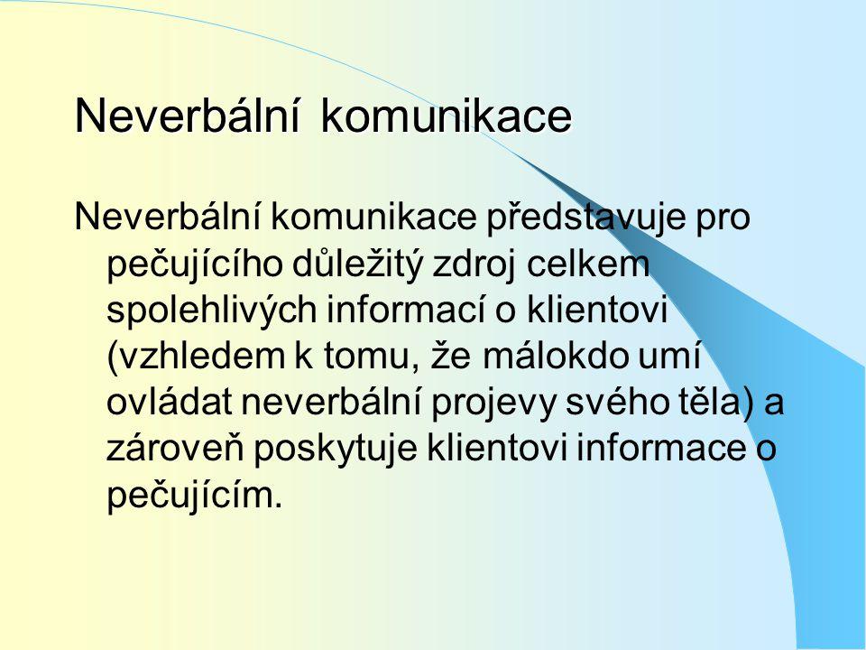 Neverbální komunikace Neverbální komunikace představuje pro pečujícího důležitý zdroj celkem spolehlivých informací o klientovi (vzhledem k tomu, že m
