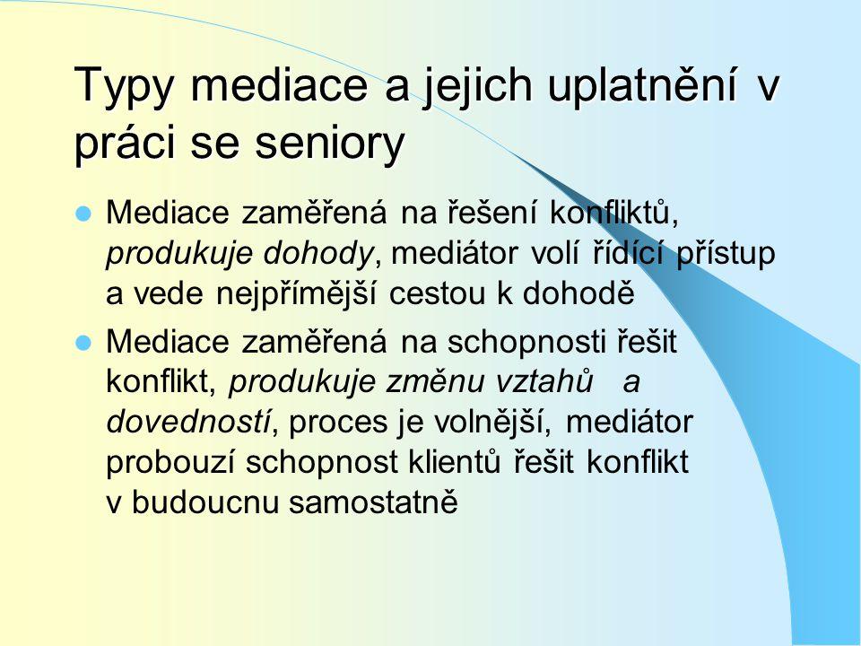 Typy mediace a jejich uplatnění v práci se seniory  Mediace zaměřená na řešení konfliktů, produkuje dohody, mediátor volí řídící přístup a vede nejpř