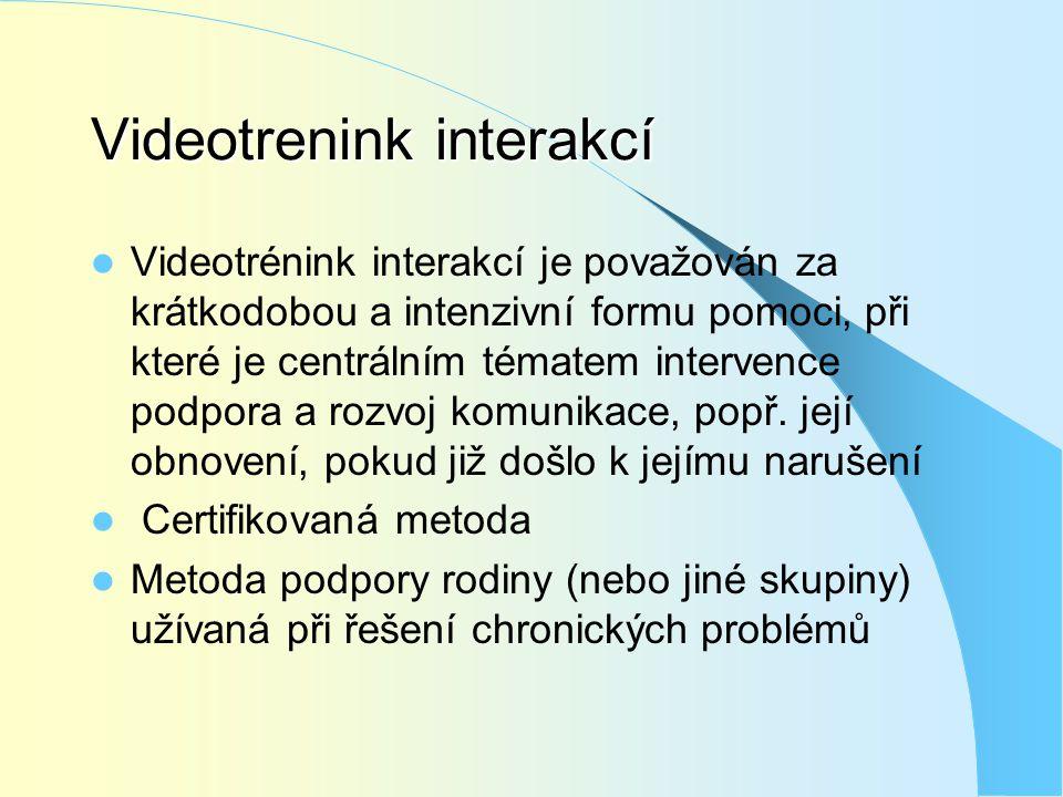 Videotrenink interakcí  Videotrénink interakcí je považován za krátkodobou a intenzivní formu pomoci, při které je centrálním tématem intervence podp