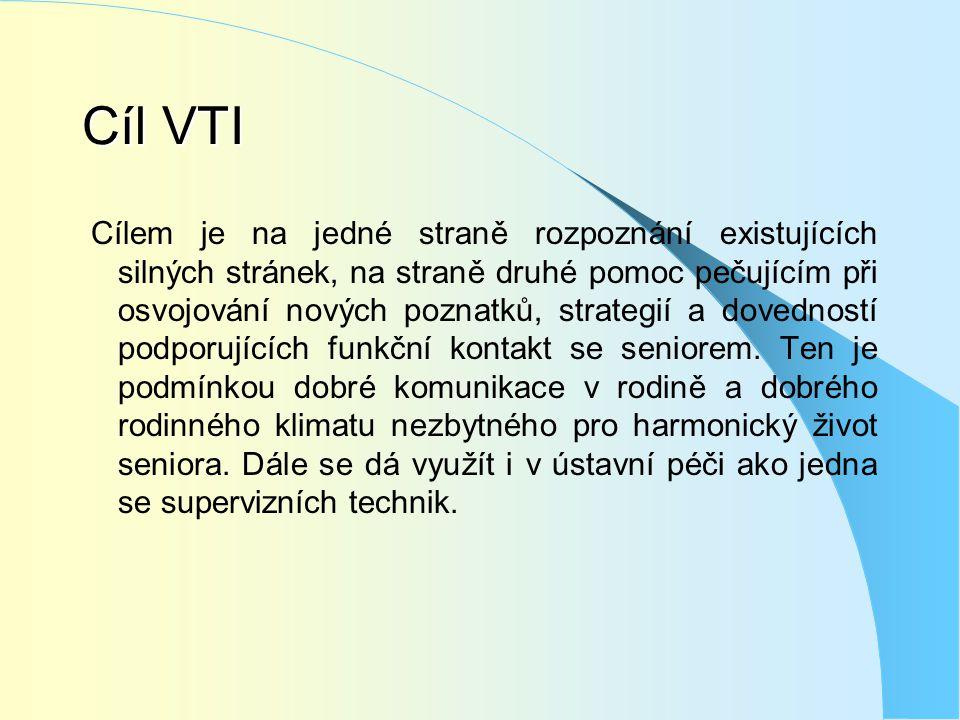 Cíl VTI Cílem je na jedné straně rozpoznání existujících silných stránek, na straně druhé pomoc pečujícím při osvojování nových poznatků, strategií a