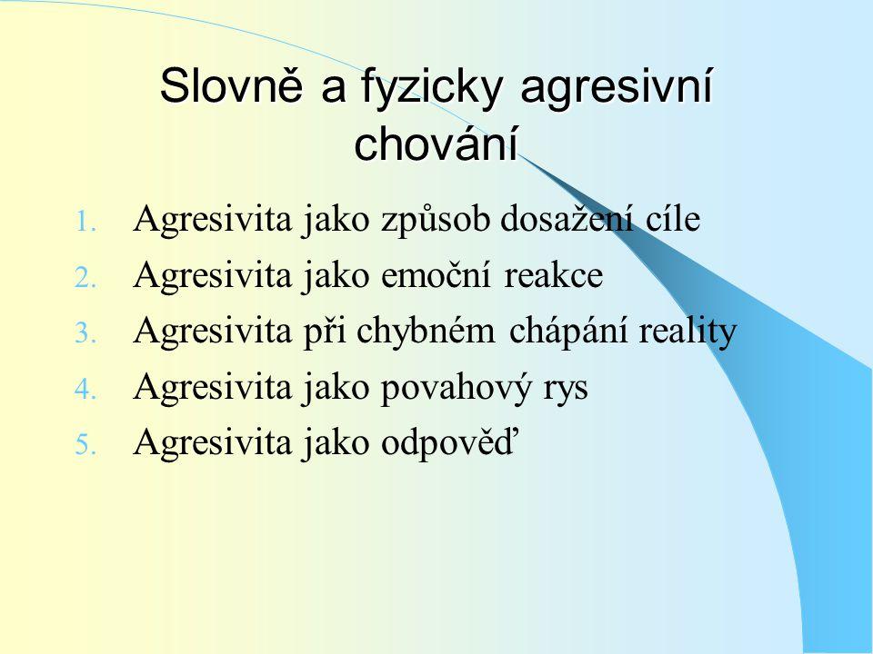 Slovně a fyzicky agresivní chování 1. Agresivita jako způsob dosažení cíle 2. Agresivita jako emoční reakce 3. Agresivita při chybném chápání reality