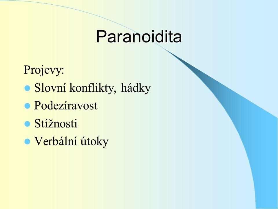 Paranoidita Projevy:  Slovní konflikty, hádky  Podezíravost  Stížnosti  Verbální útoky