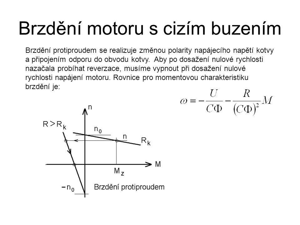 Brzdění motoru s cizím buzením Brzdění protiproudem se realizuje změnou polarity napájecího napětí kotvy a připojením odporu do obvodu kotvy. Aby po d