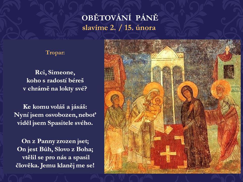 """Když Marii a Josefovi požehnal, obrátil se k Ježíšově matce a řekl: """"Hle, položen jest tento ku pádu a ku povstání mnohých v Izraeli a na znamení, jem"""