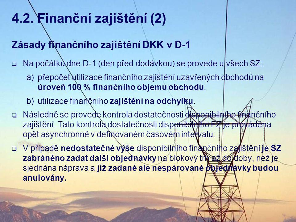 Zásady finančního zajištění DKK v D-1  Na počátku dne D-1 (den před dodávkou) se provede u všech SZ: a)přepočet utilizace finančního zajištění uzavře