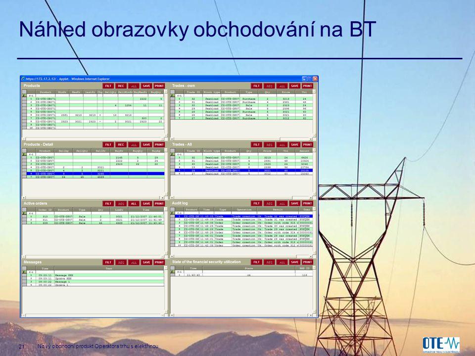 21 Nový obchodní produkt Operátora trhu s elektřinou Náhled obrazovky obchodování na BT