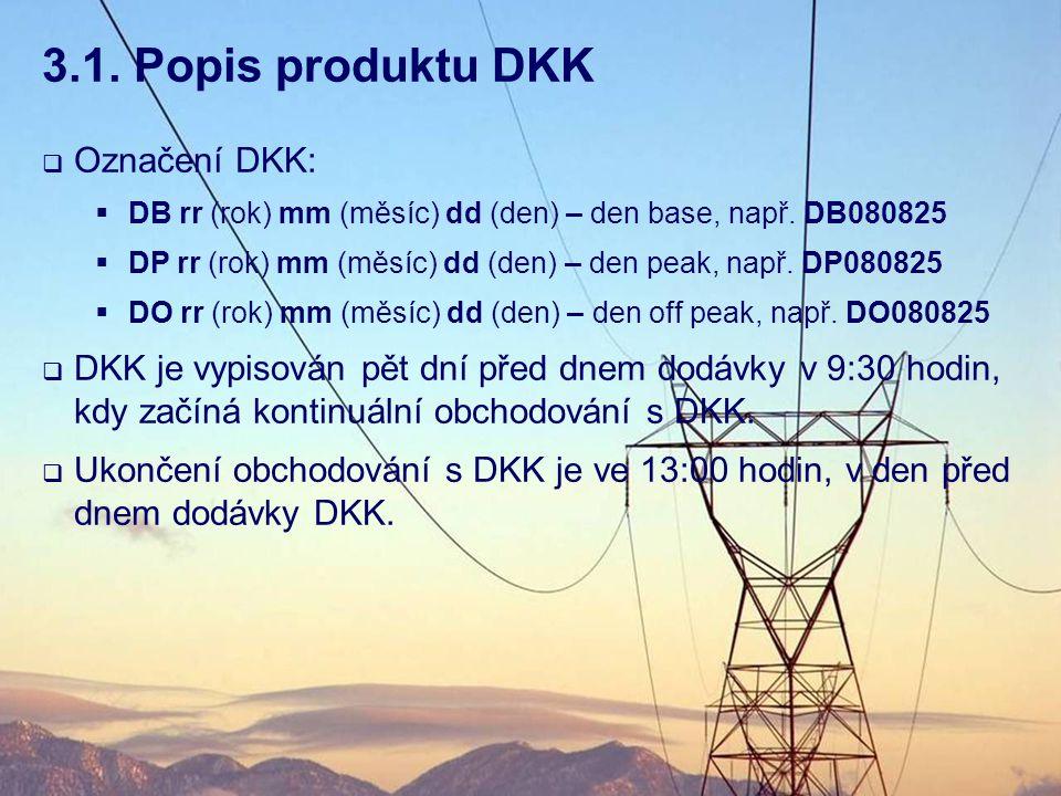 3.1. Popis produktu DKK  Označení DKK:  DB rr (rok) mm (měsíc) dd (den) – den base, např. DB080825  DP rr (rok) mm (měsíc) dd (den) – den peak, nap