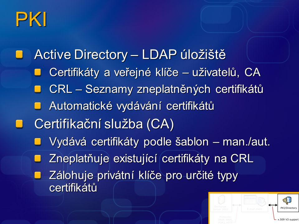 PKI Active Directory – LDAP úložiště Certifikáty a veřejné klíče – uživatelů, CA CRL – Seznamy zneplatněných certifikátů Automatické vydávání certifik