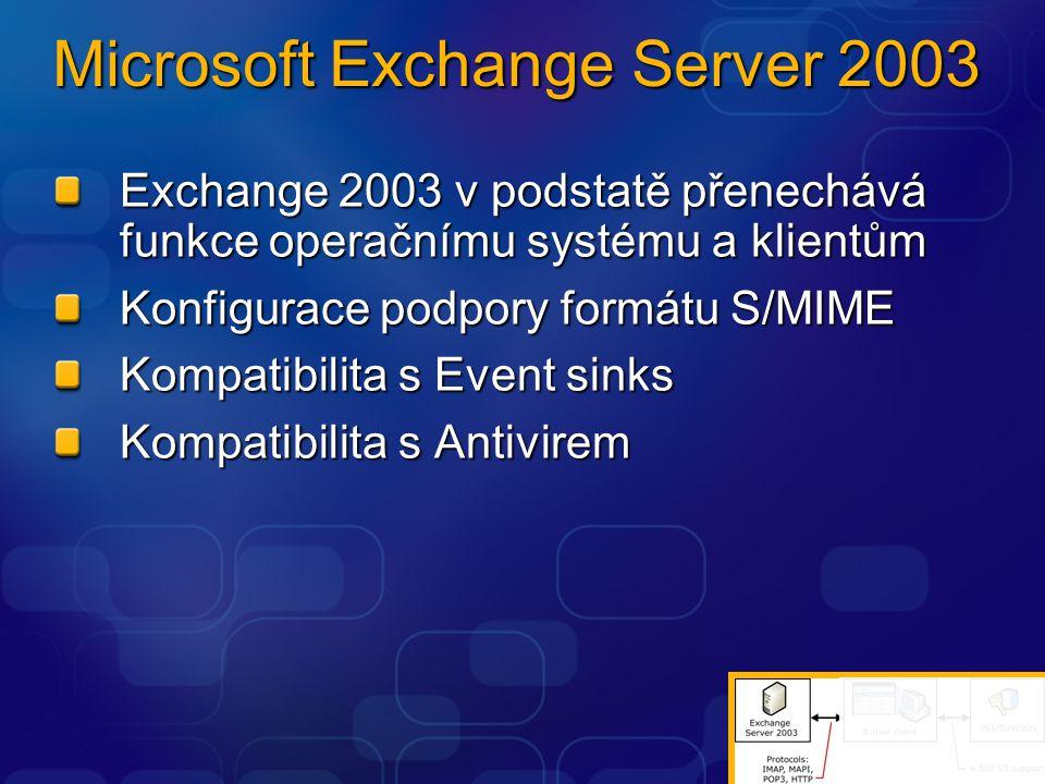Microsoft Exchange Server 2003 Exchange 2003 v podstatě přenechává funkce operačnímu systému a klientům Konfigurace podpory formátu S/MIME Kompatibili