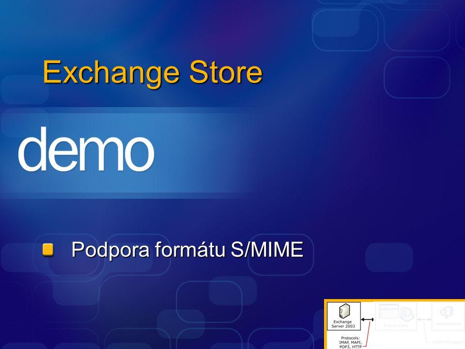 Exchange Store Podpora formátu S/MIME