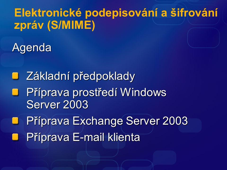 Elektronické podepisování a šifrování zpráv (S/MIME) Agenda Základní předpoklady Příprava prostředí Windows Server 2003 Příprava Exchange Server 2003