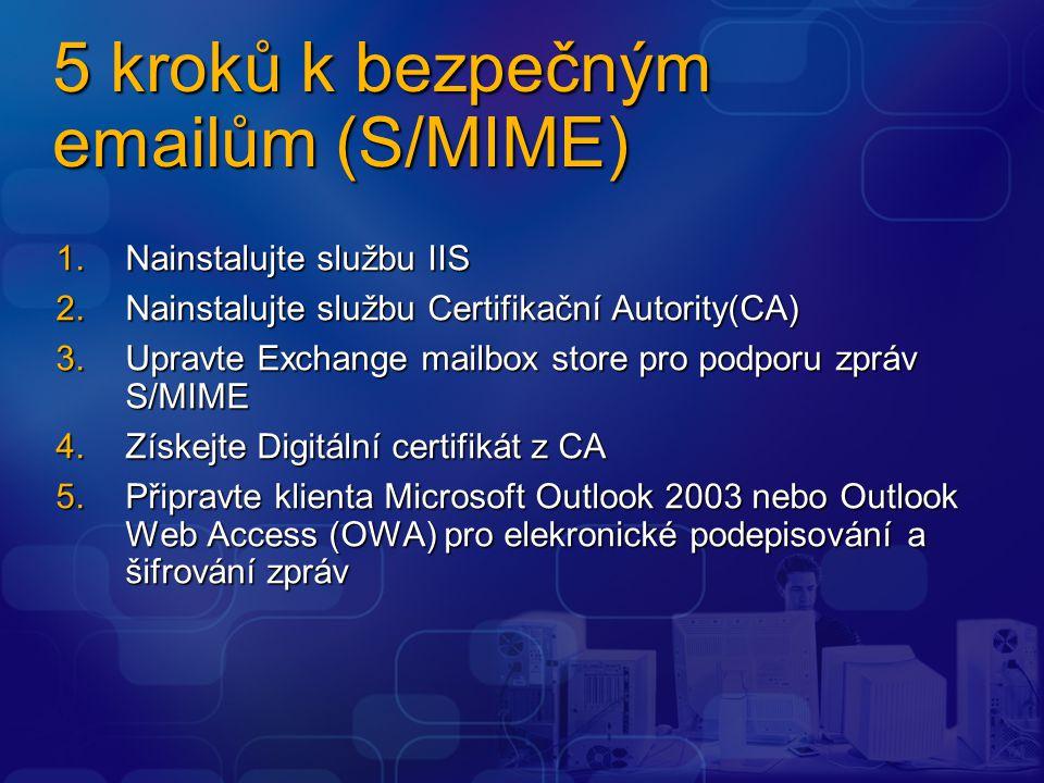 5 kroků k bezpečným emailům (S/MIME) 1.Nainstalujte službu IIS 2.Nainstalujte službu Certifikační Autority(CA) 3.Upravte Exchange mailbox store pro po